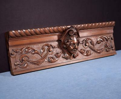 *French Antique Deep Carved Architectural Panel Solid Walnut Wood w/Face Salvage