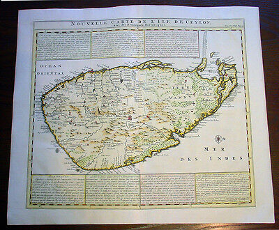 1719 Chatelain Large Original Antique Map of The Island of Sri Lanka - Ceylon