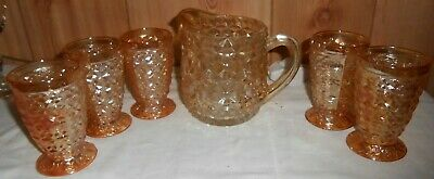 "1947-50 IRIDESCENT ""BUTTONS & BOWS or HOLIDAY""MILK PITCHER & 5 TUMBLERS~JEANETTE"