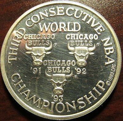 1993 Chicago Bulls Threepeat 1 Troy Oz. .999 Silver Round - IL Illinois