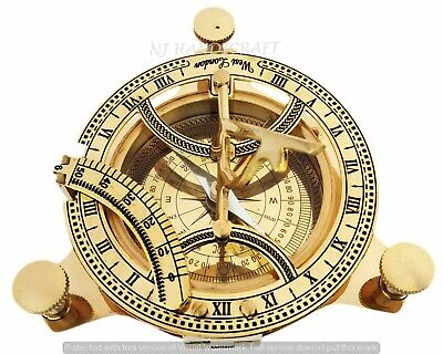 Vintage Solid Sundial Compass Brass Nautical Navigational Marine Working Compas