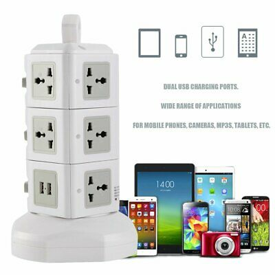 11 Way Power Board 3-Level Vertical Socket With 2 USB Charging Charger Outlets A