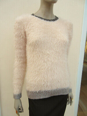Next - Girls Pale Pink Mix Fluffy Long Sleeved Jumper - Generous size 13 yrs