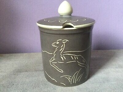Vintage POOLE POTTERY Sgrafitto LEAPING DEER Lidded JAM POT 1950's