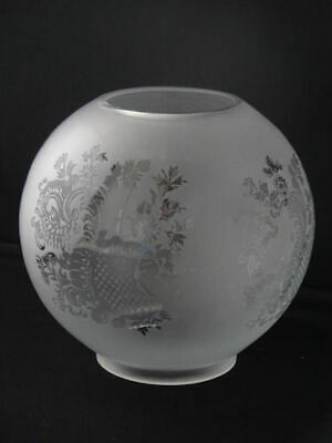 Victorian Style White Frosted Glass Globe Oil Lamp Shade with Floral Motif