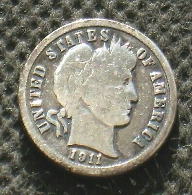 OLD SILVER US DIME COIN 1911 BARBER (EARLY SILVER DIME) Ag