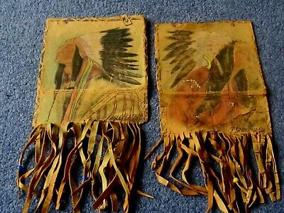 Vintage 1920s Leather Red Indian Depictions of Eagle Feather and Minnehaha