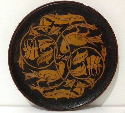 Antique Arts and Crafts Pokerwork Plate Pyrography
