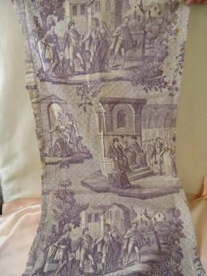 A Beautiful Early 19th Century French Rare Aubergine Toile De Jouy