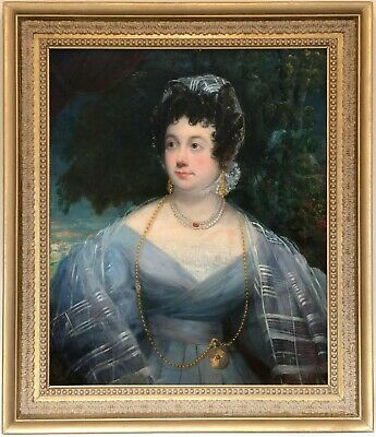 Portrait of a Young Lady Antique Oil Painting Mid 19th Century English School