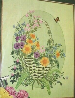 """Paragon crewel embroidery kit """"Basket of Wildflowers"""" flowers floral nature"""