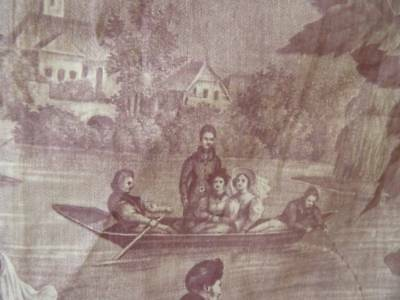 Beautiful Early 19th Century French Rare Aubergine Toile De Jouy ~Boating ~