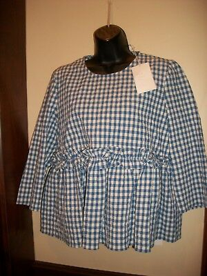 67dd413238c0 Nwt Trf Collection Zara Blue White Gingham L Top Blouse Trendy Trafaluc  50  New