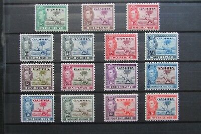 XL4093: Gambia (1938).  Short KGVI Mint Stamp Set to 5/-
