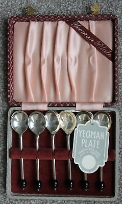 Vintage Boxed Complete set of 6x coffee spoons Yeoman Plate EPNS Silver Plated