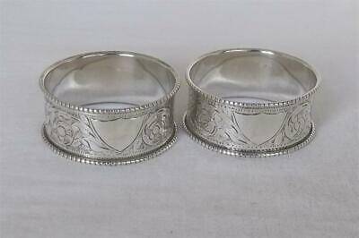 A Stunning Antique Pair Of Solid Silver Victorian Napkin Rings Birmingham 1897.