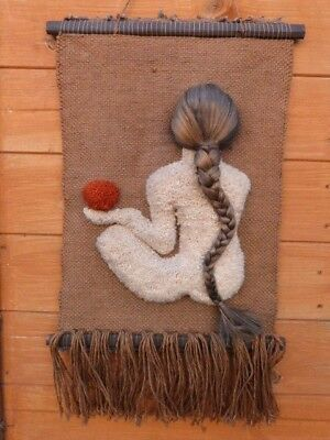 Rare Vintage Native American?? Woven Wall Hanging With Real Human Hair.