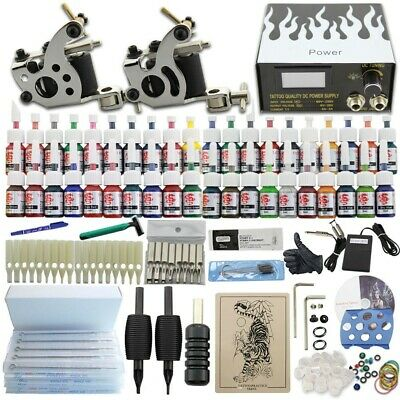 tattoo kit nuo2macchinette 40 ink alimentatore a pedale 50aghi monouso...