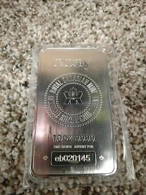 10 Troy oz. Royal Canadian Mint/EBAY .9999 Silver Bullion Bar in sealed plastic.