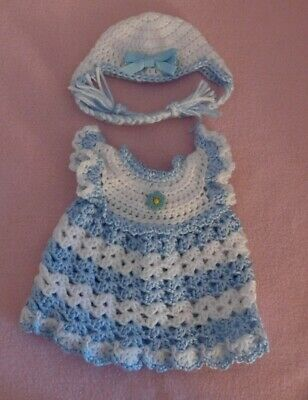"""Wellie Wishers Clothes LtBlue White Dress & Hat Fits American Girl Wellie 14.5"""""""