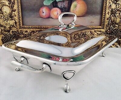 UNUSED 19th C. 3 Piece Silver Plated Bacon/Food Warming Dish H C & Co C1880