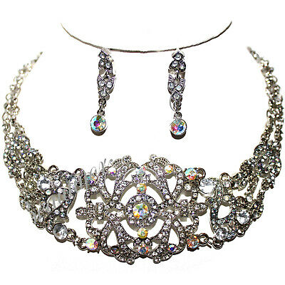 Antique Victorian Vintage Austrian Crystal Scroll Fancy Silvertone Necklace Set
