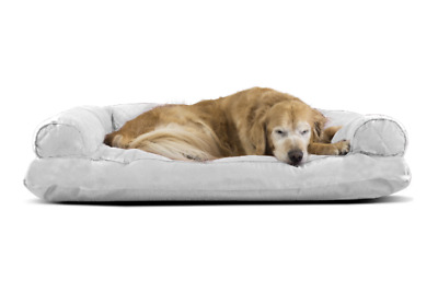 FurHaven Extra Large Silver Grey Quilted Pillow Sofa Dog Bed Pet Bed Sofa Comfy