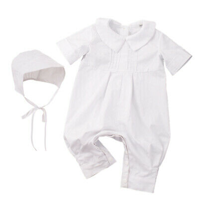 Blessume Baby Boys Pique Christening Baptism White Longall with Hat Outfit 1-3M
