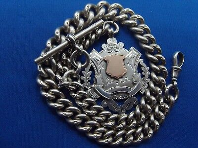 HEAVY HM 1897 SILVER ALBERT POCKET WATCH CHAIN 9ct SILVER DOUBLE SIDED FOB 97.7g