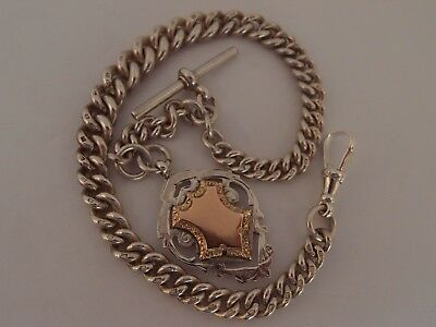 HEAVY 1900 SILVER ALBERT POCKET WATCH CHAIN +WHH 9ct GOLD SILVER 2 SIDED FOB 91g