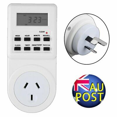 Digital Electronic AU Plug-in Programmable 12/24 Hour Timer Switch Socket 7Day J