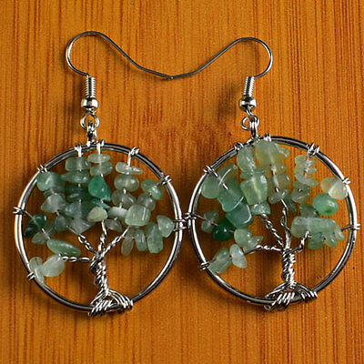A3993 29x3 Pair Green Aventurine Gravel Tree Of Life Chakra Silver Earrings