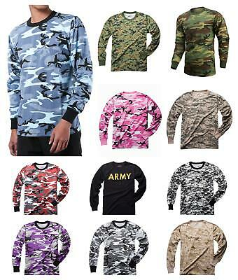 Mens Army Military Tactical Gym Hunt Camping Long Sleeve Camo Tee T-Shirt