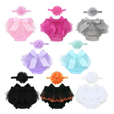 Newborn Baby Girls Bloomer Diaper+Flower Headband Infant Photography Photo Props