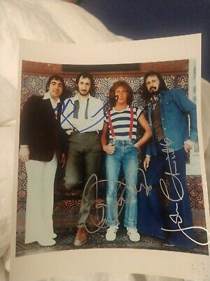 The Who Signed 8X10 Photo Daltrey Townshend Entwistle Band W/Coa+Proof Rare Wow
