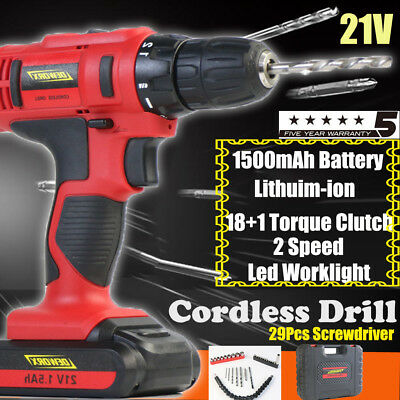 Heavy Duty 21V Cordless Drill 1500mAh Fast Charger 18+1 Torque Screwdeiver 29PC
