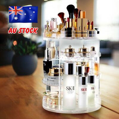 360° Rotating Acrylic Makeup Organiser Clear Cosmetics Holder Storage Stand AU