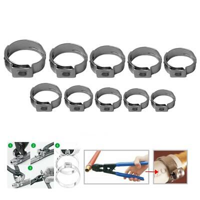10pcs Single Ear Stainless Steel Hydraulic Hose Clamp Fuel Air Water Pipe O Clip