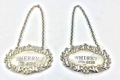 Pair Sterling Silver Sherry & Whiskey Decanter Labels David Hollander