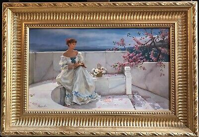 Superb Russian Impressionist Signed Oil Painting - Elegant Lady Floral Balcony