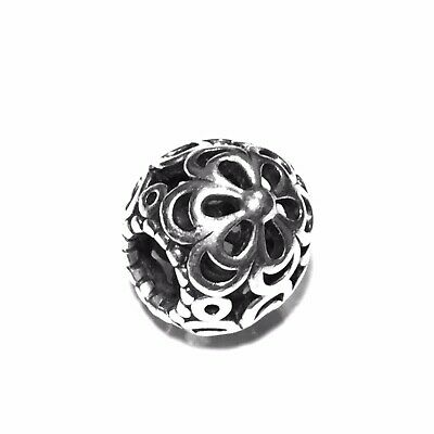 28ffa2d54 Authentic Rare Retired Pandora Flower Open Work Bead Slide Charm Sterling  Silver
