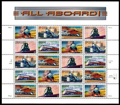1999 - CLASSIC RAILROAD TRAINS - #3333-7 Full Mint -MNH- Sheet of 20 Stamps