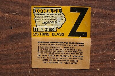 1951 Iowa Windshield License Validation Decal Sticker - Plate Tags