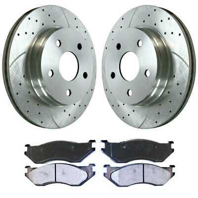 Front 4 2 Ceramic Brake Pad Fits 02-2004 Toyota Camry Drilled Slotted Rotors