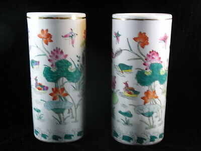 Ancienne Grande Paire Vase Rouleau Porcelaine Emaillee Asiatique Chine China