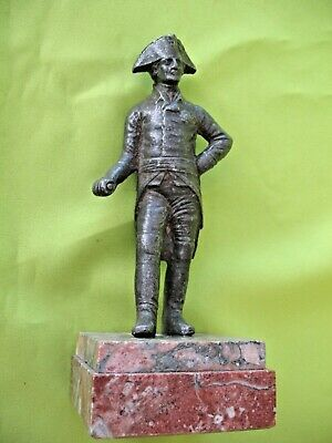 Old antique cast metal figurine of Lord Nelson in Bicorn hat  on marble base