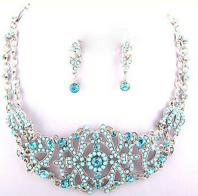 Womens Victorian Vintage Austrian Antique Aurora Borealis Choker Necklace Ab Set