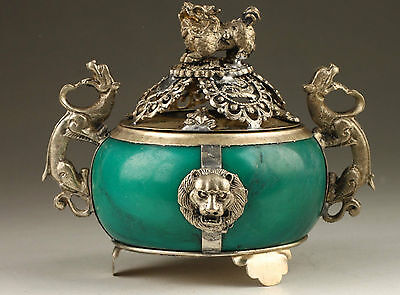 Exquisite Chinese Collection Silver Copper Dragon Inlaid Jade Incense Burner RR