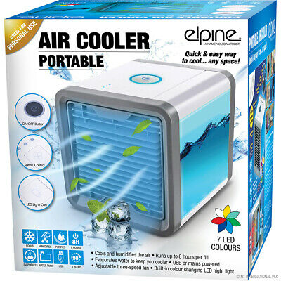 Portable Air Cooler Humidifier Purifier Colour Changing Led Fan Usb Gift Office