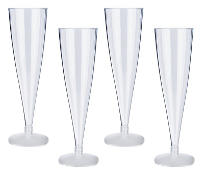 6 24 48 Disposable Plastic Champagne Flutes 160ml Wine Glasses  Party Glass